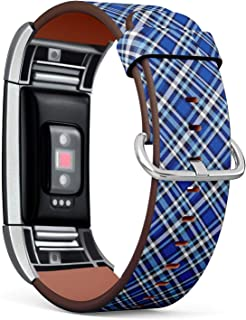 Compatible with Fitbit Charge 2 - Replacement Accessory Leather Band Strap Bracelet Wristbands with Adapters (Plaid Check Cobalt Blue)