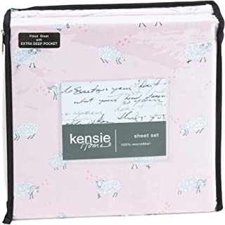 Kensie-Home Baa-Baa White Sheep on Puff Pink Queen Microfiber Sheet Set