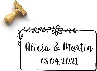 Timbro personalizzato matrimonio, stile country chic con fiori, con nomi e data, rettangolo, 5 x 3 cm