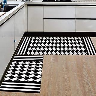 Ommda antypoślizgowe nadające się do prania czarny amd biały nadruk obszar chodniki kuchnia dywany i maty do wejścia 60 x ...