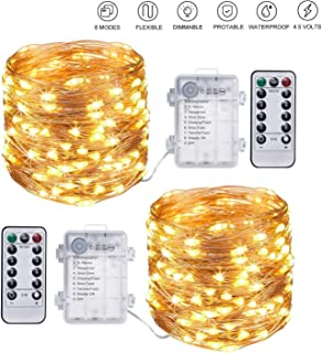 Aptech Fairy Lights Battery Operated String Lights - 10M 100LED Sliver Waterproof 8 Modes Twinkle String Lights with Remot...
