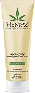 Hempz Age Defying Renewing Herbal Body Wash, 8.5 oz., with Shea Butter, Ginseng - Anti-Aging, Fragranced Shower Gel with P...