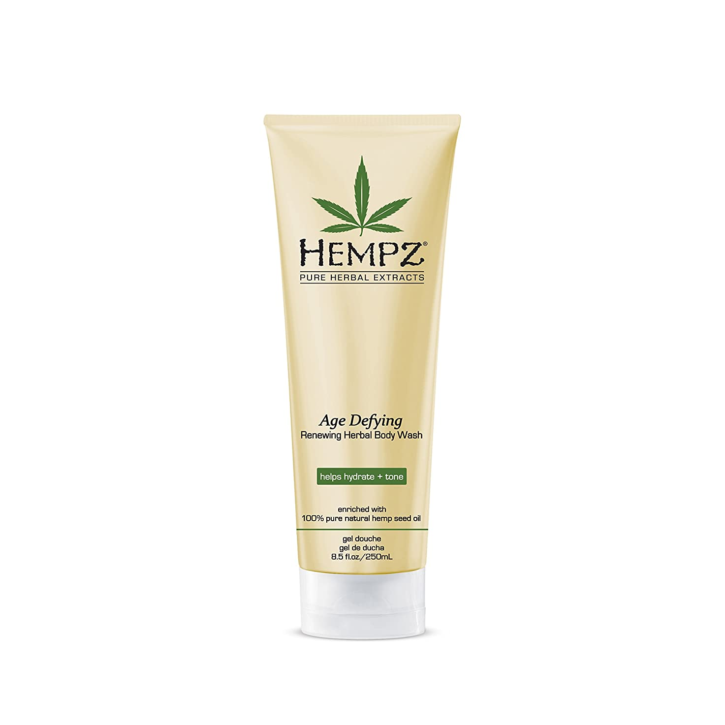 Hempz Age Defying Herbal Body Wash, Off White, Vanilla/Musk, 8.5 Fluid Ounce