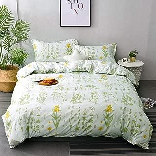M&Meagle Plant Duvet Cover Floral,Flower Print Pattern-Queen Size(3Pcs,1 Duvet Cover 2 Pillowcases)