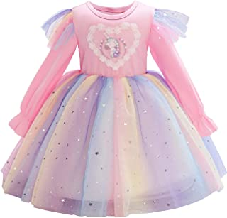 Children Dress With Flying Sleeves Rainbow Sequined Mesh Princess Dress High Quality (Color : Pink, Size : 130)