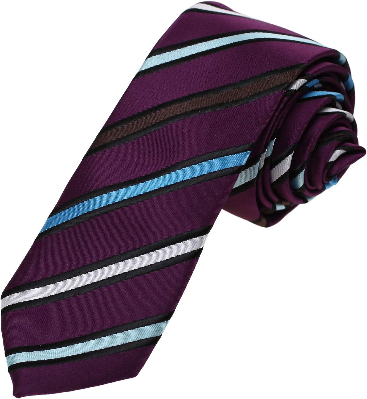 Dan Smith Series Stripes Slim Necktie Microfiber Skinny Tie For Wedding With Box