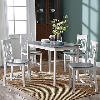 Ensemble table de salle à manger en pin massif avec 4 chaises en forme de X et gris