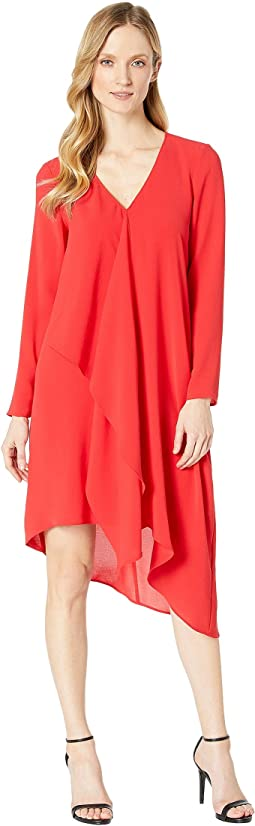 Gauzy Crepe Long Sleeve Corkscrew Dress