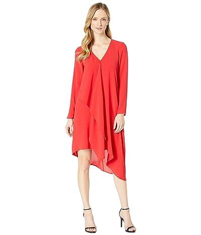 Adrianna Papell Gauzy Crepe Long Sleeve Corkscrew Dress (Red Polish) Women