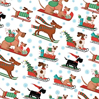Sledding Dogs Christmas Wrapping Paper Roll with Great Danes, Irish Setter, Pugs, Dachshund, Spaniel and Terrier, 2 Feet x 20 Feet Dog Christmas Gift Wrap Hoot Leroux™ R