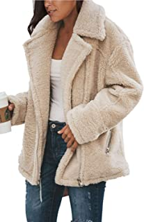 Fixmatti Women's Winter Fuzzy Faux Shearling Zip UP Lapel Long Sleeve Oversized Cardigan Jacket Coats with Pockets