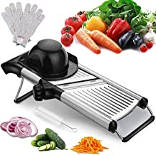 Adjustable Mandoline Slicer with Free Cut-Resistant Gloves and Brushes Stainless Steel Slicer Vegetable Potato Onion Food ...