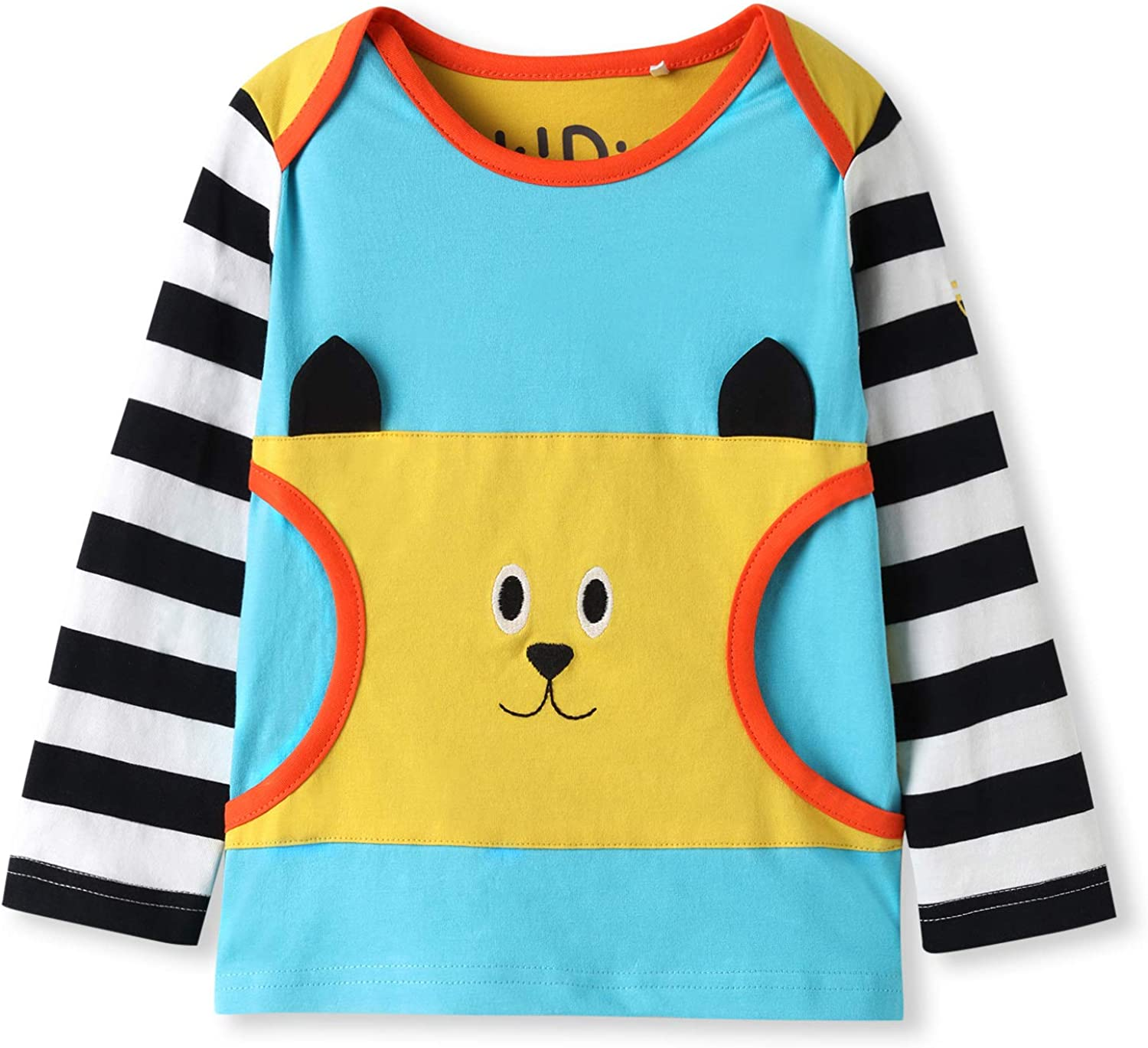 kIDio Organic Cotton Applique Baby Infant Toddler Long Sleeve Top - Girl Boy Tee Shirt Blouse (0-4 Years)