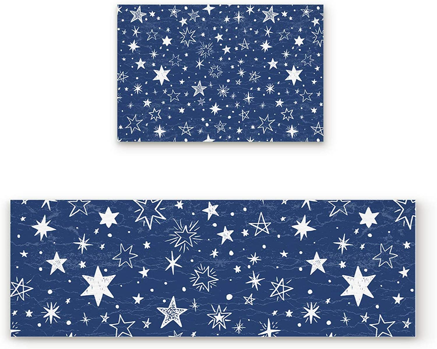 Aomike 2 Piece Non-Slip Kitchen Mat Rubber Backing Doormat bluee and White Stars Runner Rug Set, Hallway Living Room Balcony Bathroom Carpet Sets (19.7  x 31.5 +19.7  x 47.2 )
