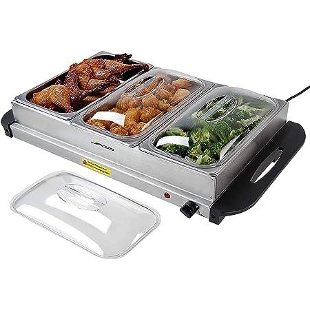 NOVA Chauffe-Plat électrique pour Buffet température réglable 45-85 °C, en Acier Inoxydable, Couvercle Transparent, modèle au Choix - Chafing Dish, Buffet Server, Food Warmer (3 x 2,5 l)