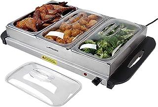 NOVA Chauffe-Plat électrique pour Buffet température réglable 45-85 °C, en Acier Inoxydable, Couvercle Transparent, modèle...