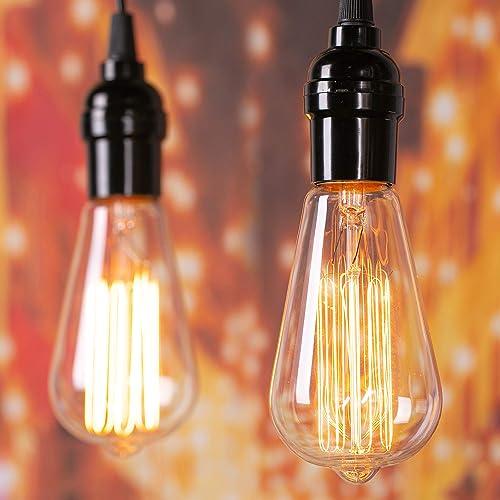 Clear Incandescent Edison Light Bulbs 6 Packs, Brightown Edison Light Bulbs 60 Watt E26 Base Dimmable Decorative Anti...