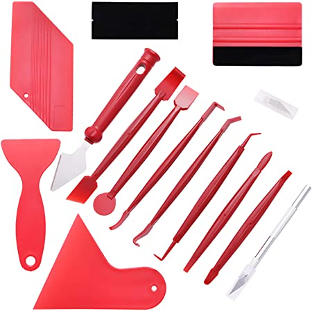 5pcs Auto Folien Set Folierung Werkzeuge Set Mit Micro Rakel Wasserabzieher Folienrakel Glasschaber Flächenspachtel Für Autofolierung Car Wrapping Auto