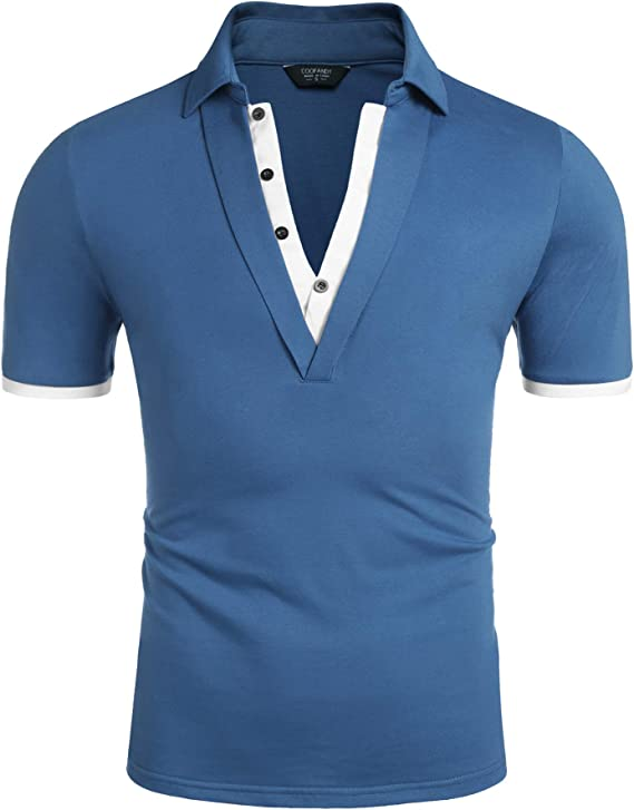 1950s Men's Clothing COOFANDY Mens Short Sleeve Polo Shirts Contrast Color Double Layer Collar Polo Tee  AT vintagedancer.com