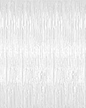 Jocon SF8107 Metallic Foil Fringe Curtain for Wedding Prom Birthday Party Wall Decoration Background (2 Packs, White)