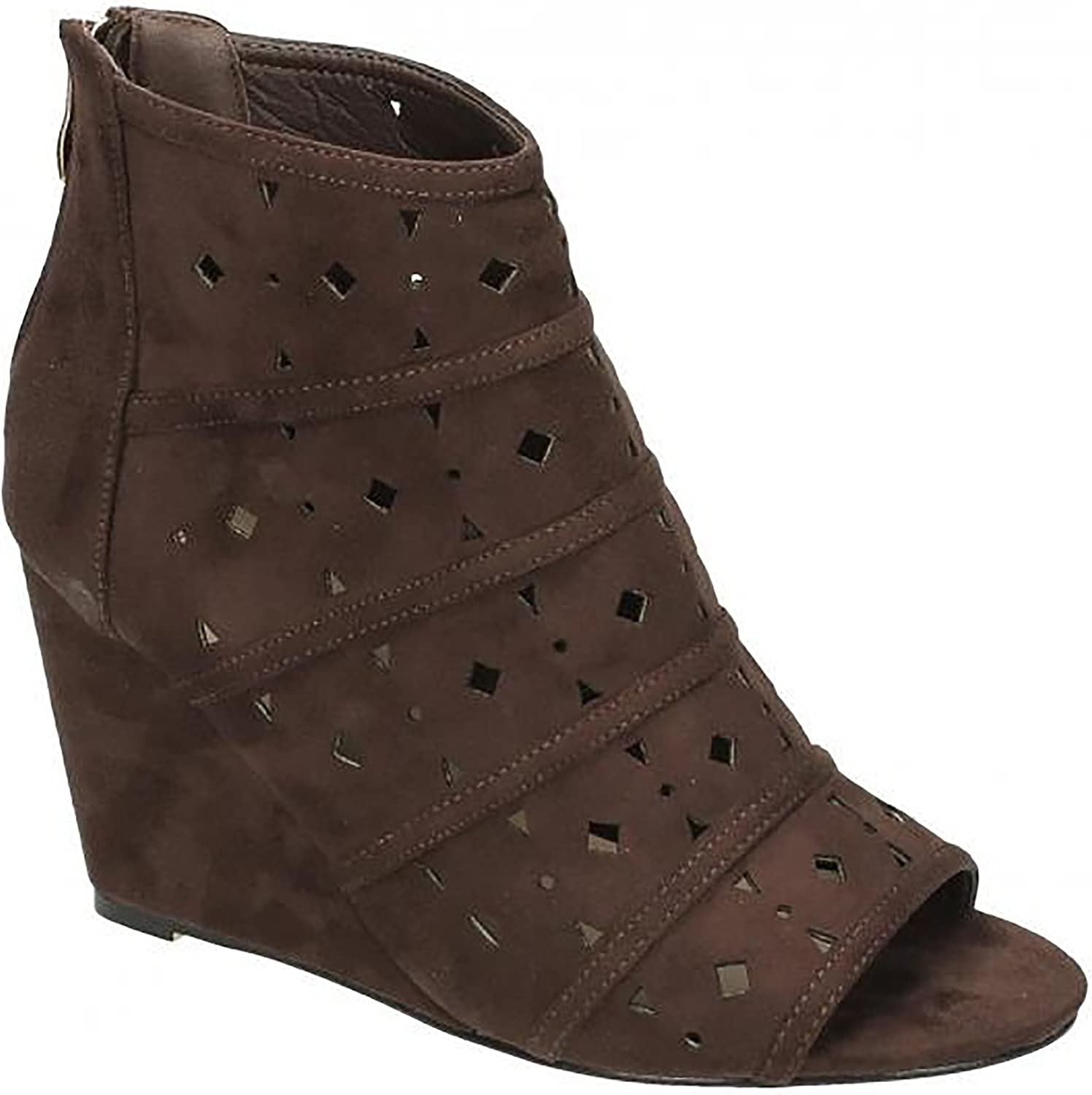 Spot On Womens Ladies Diamond Punched High Wedge Peeptoe Ankle Boot