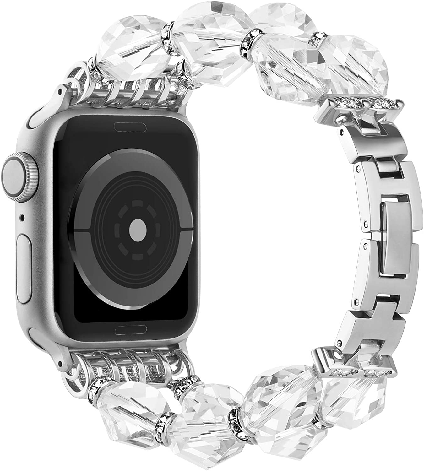 Simpeak Beaded Fashion Band Compatible with Apple Watch 38mm 40mm Series 6 SE 5 4 3 2 1, Adjustment Handmade Beaded Elastic Women Bracelet with Buckle Replacement for iWatch 38 40, White