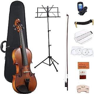 ست ویولن صوتی 4/4 ADM فولاد چوبی جامد آبنوس با کیف سخت ، گلدان ، استراحت شانه ، کمان و رشته های اضافی برای کودکان مبتدی مبتدی