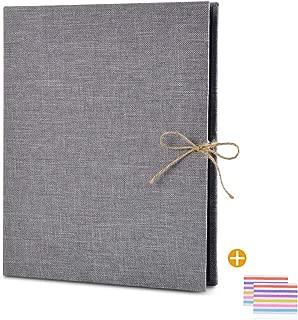 EKKONG Photo Album Scrapbook, 60 Pages Photo Album,10.4 x 8.3 inch Vintage Black Pages Memory Book,Wedding Photo Album,Anniversary Scrapbook,Travel Album (Gray)