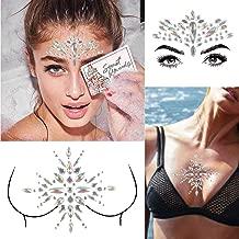 COKOHAPPY 2 Sheet Mermaid Rhinestone Breast & Face Jewels Tattoo - BODY STICKERS Crystal Tears Gem Stones Bindi Temporary Stickers