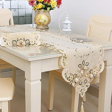 Rehomy Chemin de table 40 x 249 cm, lavable - Décoration vintage brodée de fleurs pour la maison, les fêtes, les banquets et autres événements.
