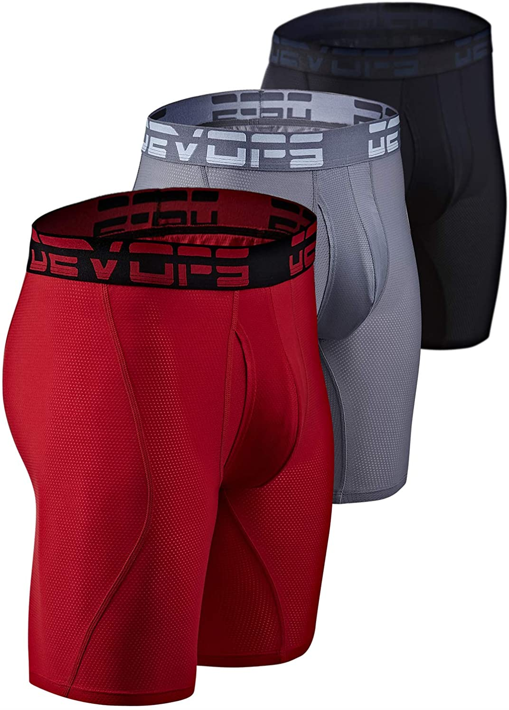 DEVOPS Men's Perfomance Cool Dry Mesh Underwear Boxer Trunk 9-inch Brief (3 Pack)