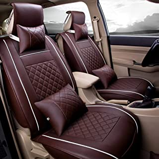 Eternal Home 7Pcs/Set Leather Car Seat Covers, Universal Fits, Includes Front Seat Covers and Bench Seat Covers, Neck Pillows and Lumbar Pillows (Coffee, L, 140cm)