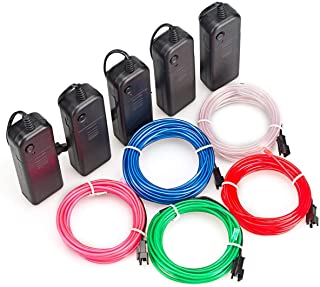 AIT EL Wire Kit 9ft, Portable Neon Lights for Parties, Halloween, DIY Decoration (5 Pack, Each of 9ft, Red, Green, Pink, Blue, White)