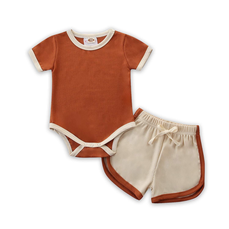 Baby Shorts Set Boy Girl Summer Short Sleeve Rompers and Shorts 2Pcs (Caramel, 3-6 Month)