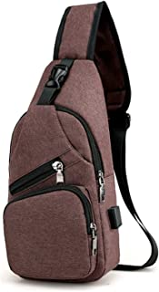 Elonglin Unisex Sling Bag Multipurpose Daypack Satchel Canvas Shoulder Chest Crossbody Bag with USB Charging Port Brown