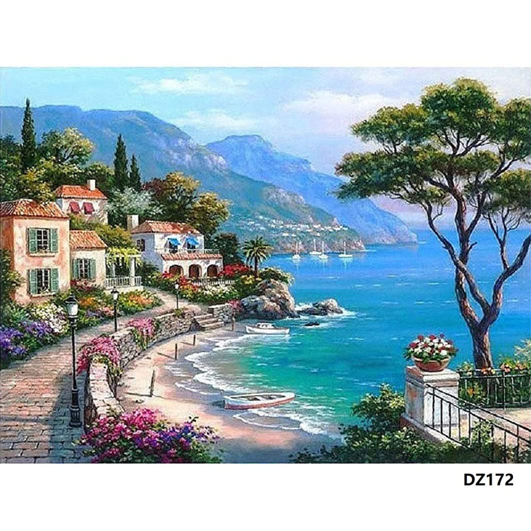 DIY Oil Painting Paint by Number Kit with Scenery Peaple 16x20inch (Wooden Frame, Mediterranean Sea)