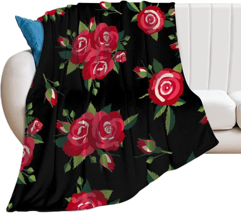 Akdeps Roses 2021new shipping free Pattern Very popular on Black L Skin-Friendly Soft Blanket Super