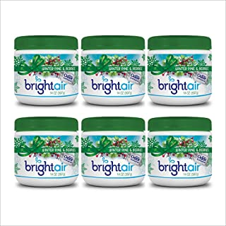 Bright Air Solid Air Freshener and Odor Eliminator, Winter Pine and Berries, 14 Ounces, 6 Pack