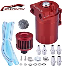 SPEEDWOW Oil Catch Can Air Breather Tank Filter Baffled Universal Red
