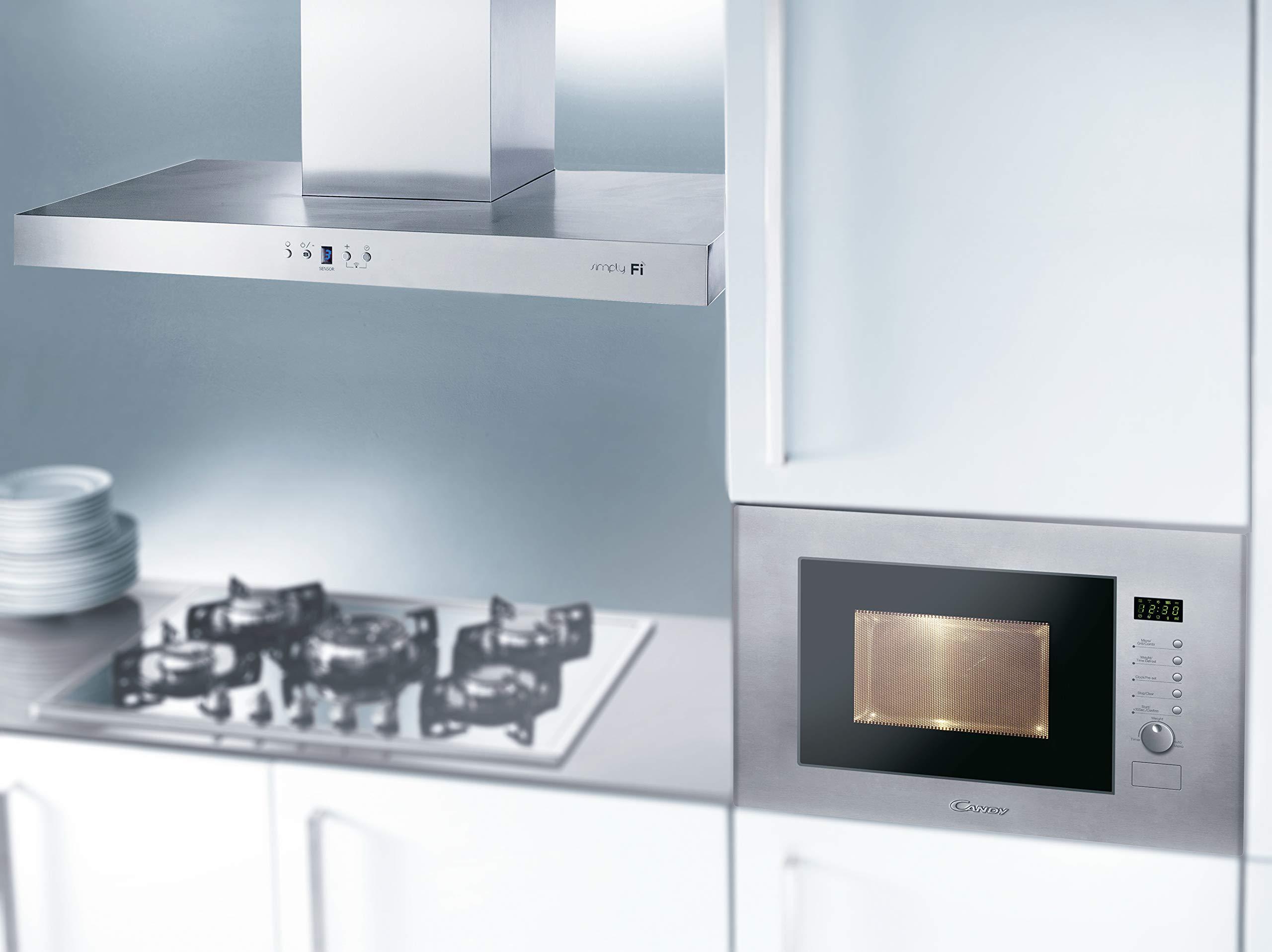 Candy MIC20GDFX Microondas integrable con grill, 10 programas, display digital, plato giratorio 24,5 cm, potencia 800 W-1000 W, 20 litros, gris: 141.57: Amazon.es: Hogar