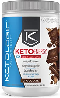 KetoLogic BHB Exogenous Ketones Powder with Caffeine (30 Servings) - Keto Pre-Workout, Boosts Ketosis, Energy & Focus - Support Keto Diet with Beta-Hydroxybutyrate Keto BHB Salts - Chocolate