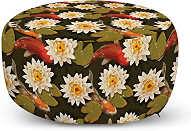 Ambesonne Asian Ottoman Pouf, Japanese Carp Koi Fish with Lotus Flowers East Culture Nature, Decorative Soft Foot Rest with R