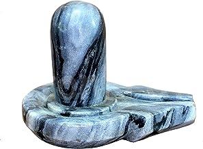"KLEO Medium Size (4.25"") Grey/Black Natural Stone Shiva Lingam Shiv Ling Idol Murti for Daily Pooja Purpose"