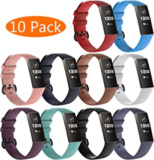 KingAcc Compatible Fitbit Charge 3 Bands, Soft Silicone Replacement Band for Fitbit Charge 3, Charge 3 SE, with Metal Buckle Wristband Strap Women Men Large Small Black, White, Gray, Blue