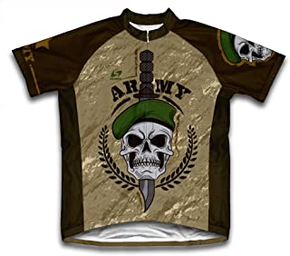 Army Skull Short Sleeve Cycling Jersey for Men