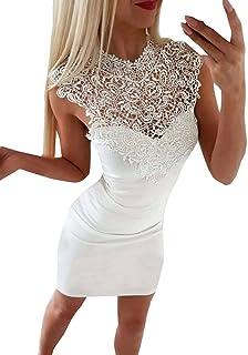 7bb6ee19b95d Donna Vestiti Estivo Moda Rotondo Collo Senza Maniche Vestito a Tubino Elegante  Pizzo Cucitura Corto Abito
