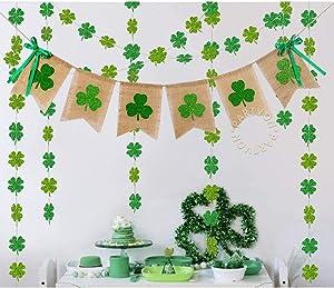 Glitter Shamrock Garland Banner for St. Patricks Day Decorations   Burlap Clover Garland Banner   Irish Day Celebration Decor   Irish Baby Shower Wedding Birthday Parties Décor