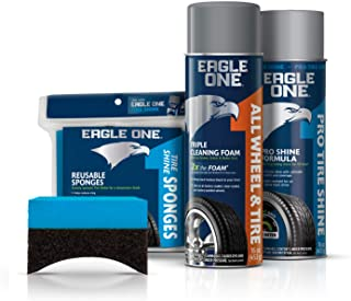 Eagle One 4-Piece Car Care Kit for Wheels & Tires, includes Wheel & Tire Foam, Tire Shine Spray, and 2 Reusable Tire Sponges