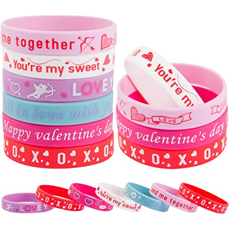 30 Pieces Valentines Day Silicone Bracelets Colorful Wrist Band Love Saying Wristband for Classroom Exchange Party Favors Game Prizes Carnivals Present Holiday Decoration Teachers Prizes