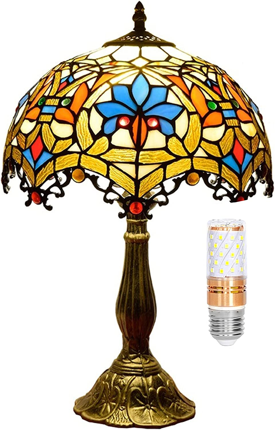 Tiffany Max 76% Max 81% OFF OFF Lamp Stained Glass Table Lamps Warm W12H18 Tall Inch Yel